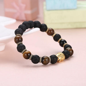 Fashion Golden Buddha Tiger's Eye Bead Bracelet - Glamorousky