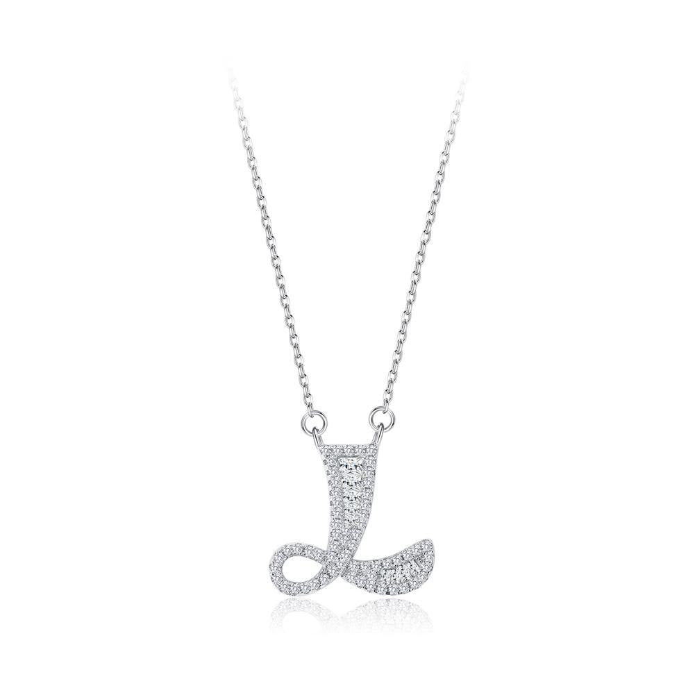 925 Sterling Silver Fashion Personality Letter L Cubic Zircon Necklace