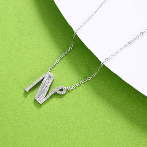925 Sterling Silver Fashion Personality Letter N Cubic Zircon Necklace