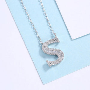 925 Sterling Silver Fashion Personality Letter S Cubic Zircon Necklace