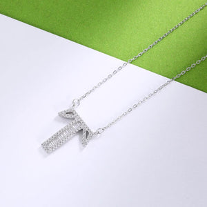 925 Sterling Silver Fashion Personality Letter T Cubic Zircon Necklace