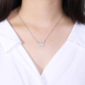 925 Sterling Silver Fashion Personality Letter W Cubic Zircon Necklace