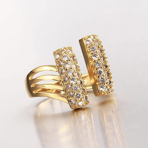 Fashionable Bright Plated Gold Geometric Cubic Zircon Adjustable Open Ring - Glamorousky