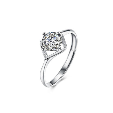 925 Sterling Silver Fashion Hollow Diamond Cubic Zircon Adjustable Ring - Glamorousky
