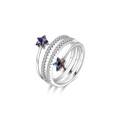 925 Sterling Silver Fashion Simple Star Adjustable Ring with Purple Austrian Element Crystal - Glamorousky