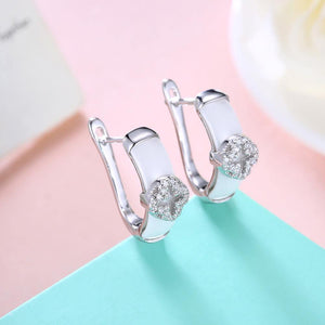 925 Sterling Silver Fashion Elegant Four-leafed Clover Cubic Zircon White Ceramic Earrings - Glamorousky