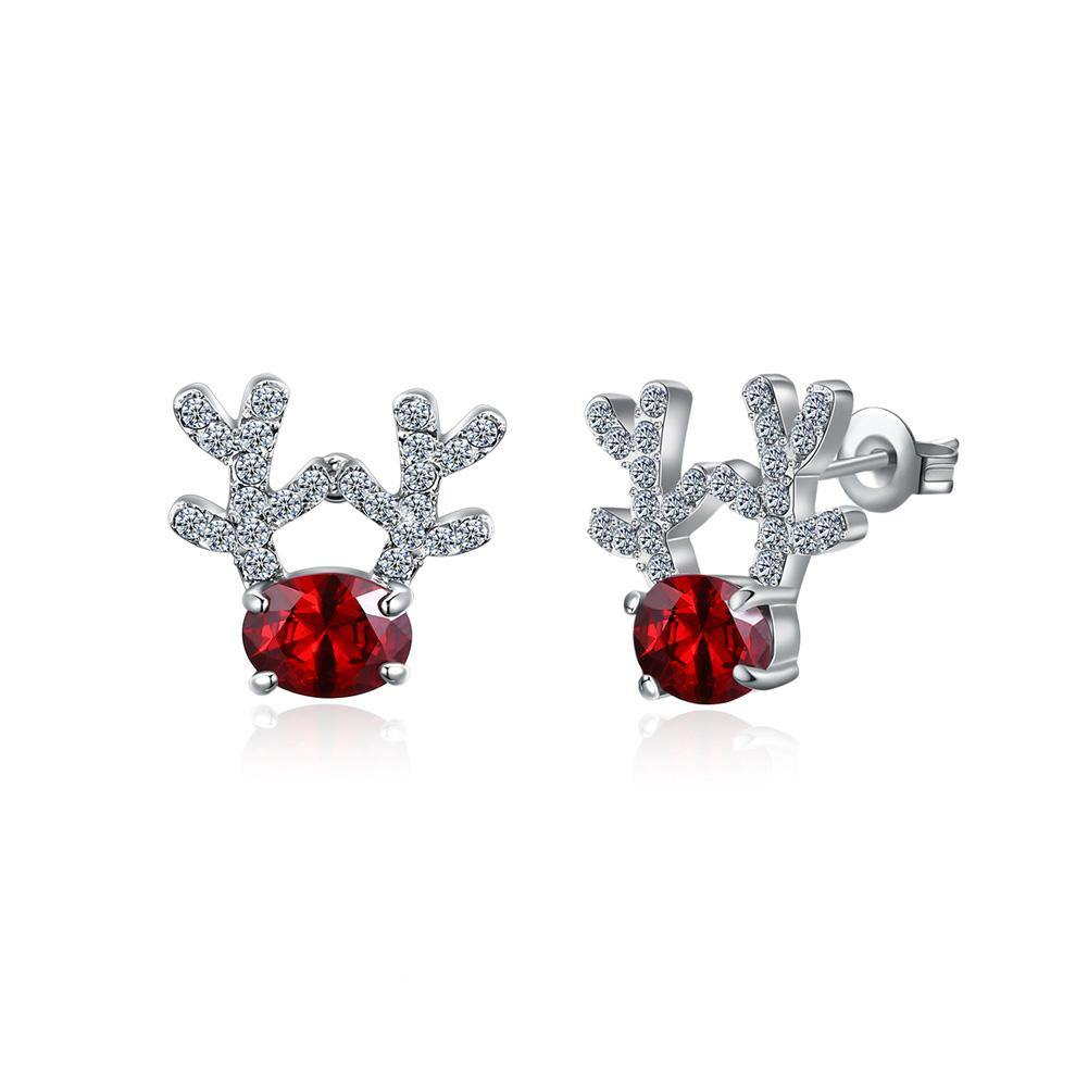 Fashion Romantic Elk Stud Earrings with Red Cubic Zircon - Glamorousky