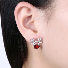 Load image into Gallery viewer, Fashion Romantic Elk Stud Earrings with Red Cubic Zircon - Glamorousky
