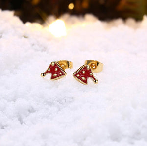 Fashion Simple Plated Gold Christmas Hat Stud Earrings - Glamorousky