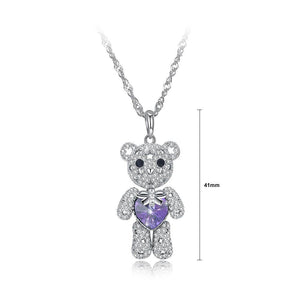 925 Sterling Silver Fashion Cute Bear Pendant with Purple Austrian Element Crystal and Necklace - Glamorousky