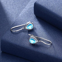 Load image into Gallery viewer, 925 Sterling Silver Fashion Elegant Water Drop Shaped Earrings with Blue Cubic Zircon - Glamorousky