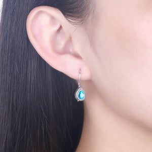 925 Sterling Silver Fashion Elegant Water Drop Shaped Earrings with Blue Cubic Zircon - Glamorousky