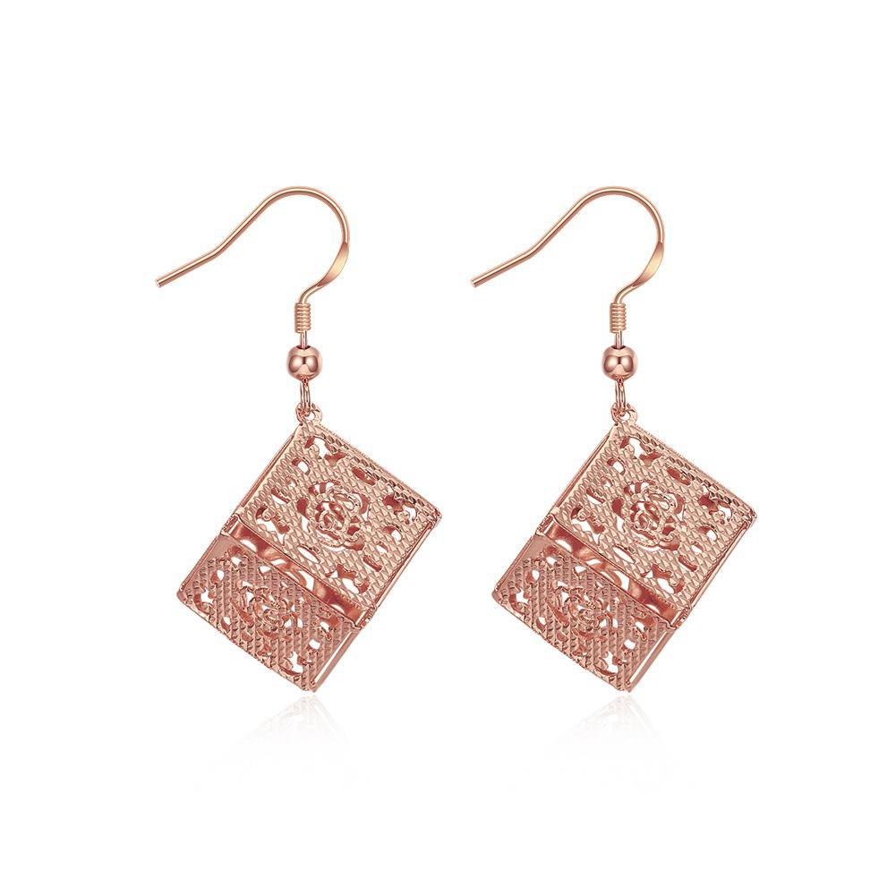 Fashion Elegant Plated Rose Gold Openwork Geometric Square Earrings - Glamorousky