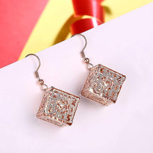 Load image into Gallery viewer, Fashion Elegant Plated Rose Gold Openwork Geometric Square Earrings - Glamorousky