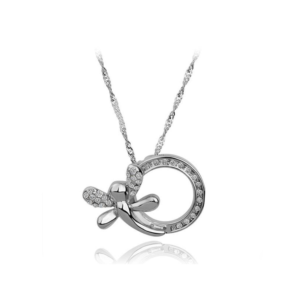 Simple and Fashion Dragonfly Geometric Round Pendant with Cubic Zircon and Necklace - Glamorousky