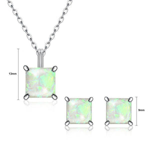 925 Sterling Silver Fashion Elegant Geometric Square Pendant Necklace and Earring Set with White Austrian Element Crystal - Glamorousky