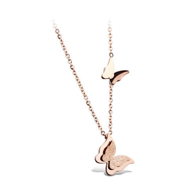 Elegant and Fashion Plated Rose Gold Titanium Steel Butterfly Pendant with Necklace