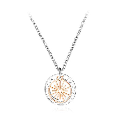 Simple and Fashion Titanium Steel Hollow Compass Star Pendant with Necklace