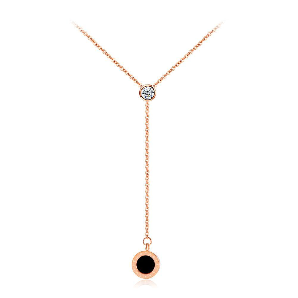 Simple Fashion Plated Rose Gold Titanium Steel Geometric Round Tassel Pendant with Cubic Zircon and Necklace - Glamorousky