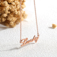 Load image into Gallery viewer, Fashion Simple Plated Rose Gold Titanium Steel English Alphabet Lucky Necklace - Glamorousky