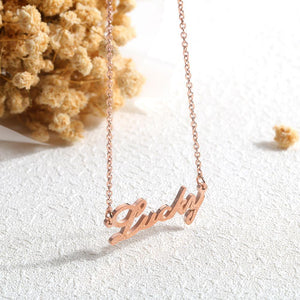 Fashion Simple Plated Rose Gold Titanium Steel English Alphabet Lucky Necklace - Glamorousky