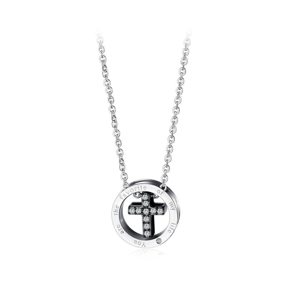 Elegant and Fashion Titanium Steel Black Cross Pendant with Cubic Zircon and Necklace - Glamorousky