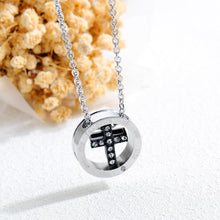 Load image into Gallery viewer, Elegant and Fashion Titanium Steel Black Cross Pendant with Cubic Zircon and Necklace - Glamorousky