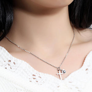 Classic Simple Titanium Steel Cross Heart Pendant with Cubic Zircon and Necklace - Glamorousky