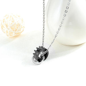 Fashion Titanium Steel Black Crown Pendant with Black Cubic Zircon and Necklace - Glamorousky