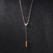 Load image into Gallery viewer, Fashion Simple Plated Rose Gold Geometric Tassel Titanium Steel Necklace with Cubic Zircon - Glamorousky