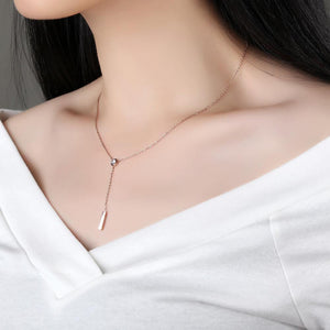 Fashion Simple Plated Rose Gold Geometric Tassel Titanium Steel Necklace with Cubic Zircon - Glamorousky