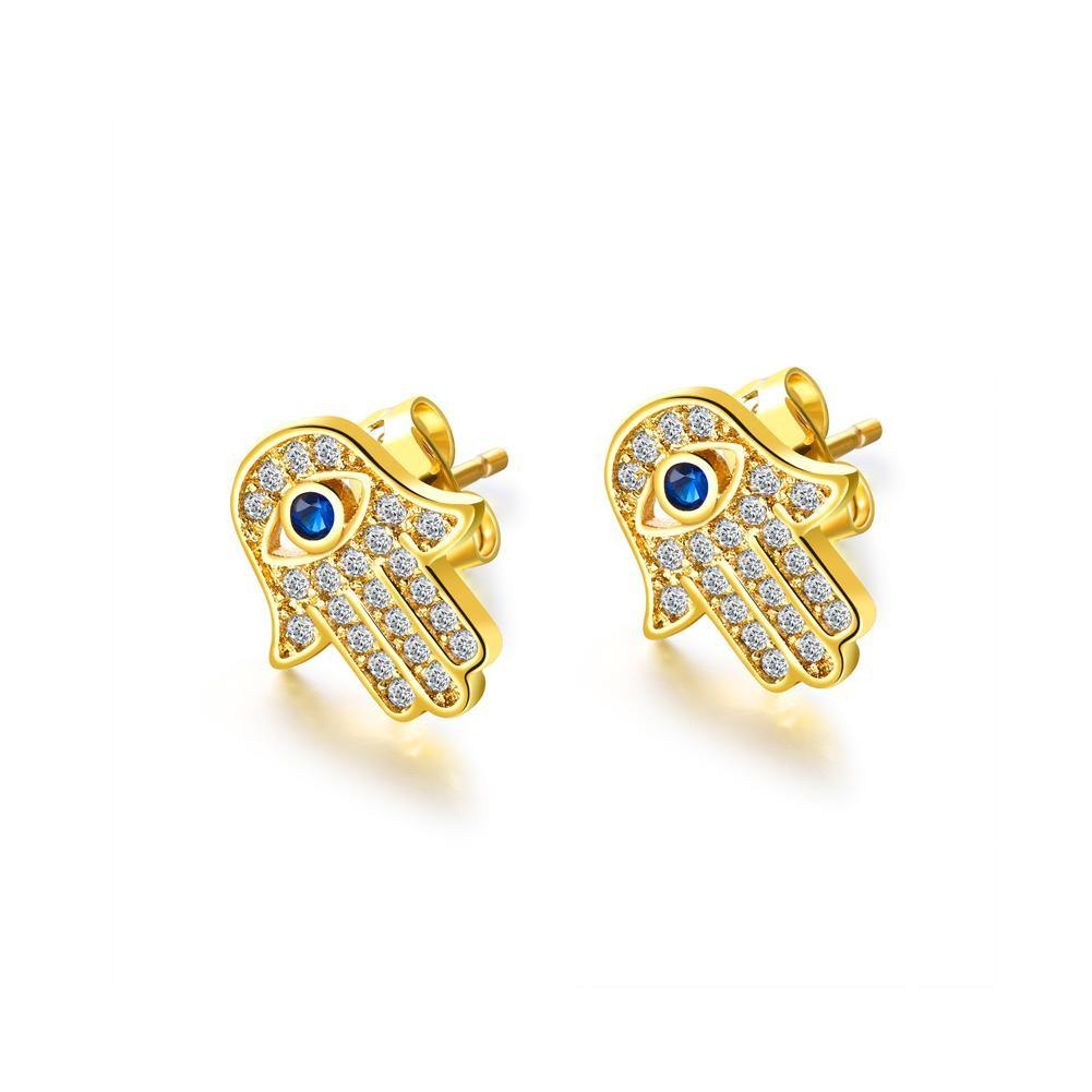 Fashion Creative Plated Gold Hassam Palm Stud Earrings with Cubic Zircon - Glamorousky