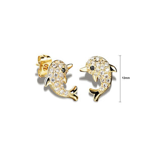 Fashion Cute Plated Gold Dolphin Stud Earrings with Cubic Zircon