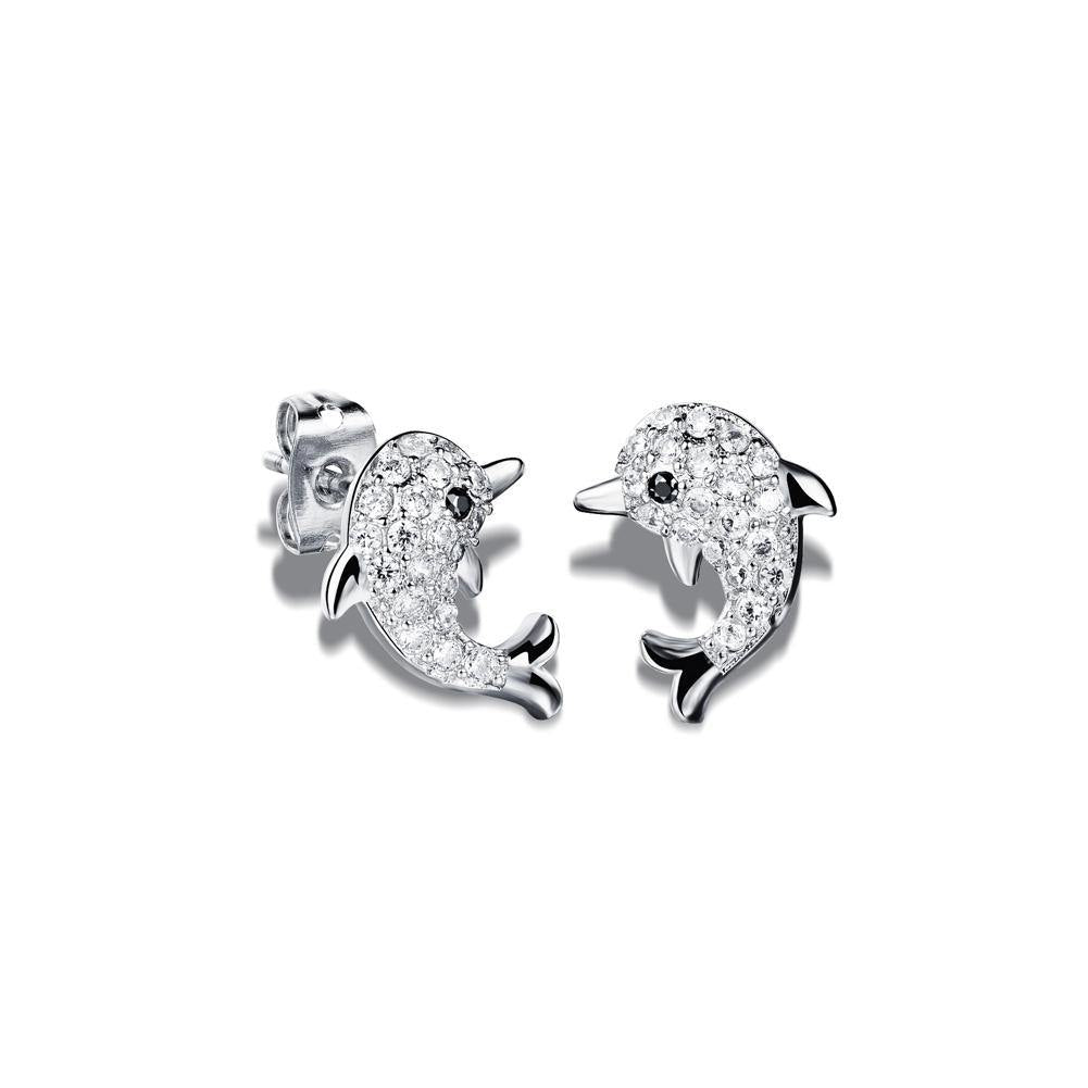 Fashion Cute Dolphin Stud Earrings with Cubic Zircon