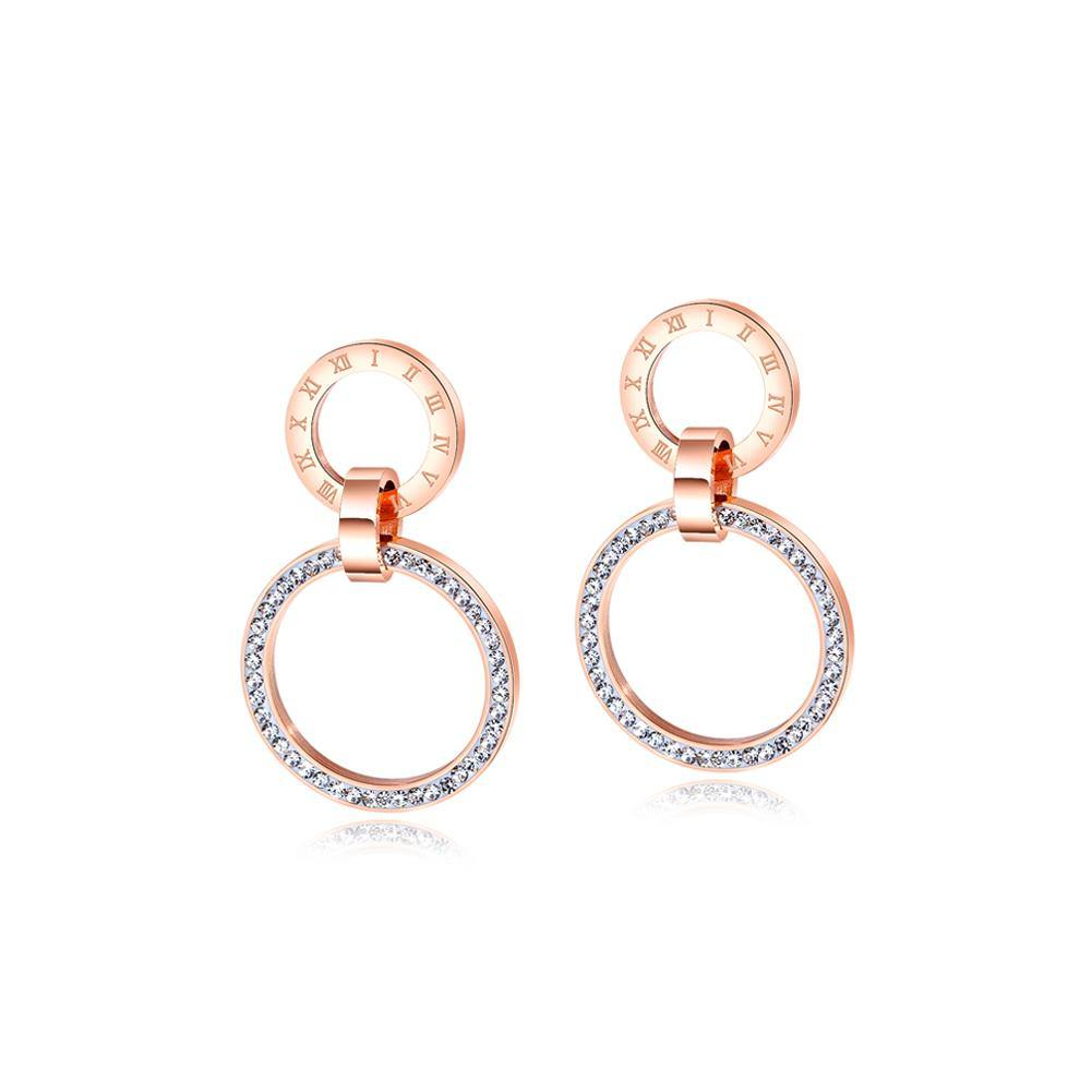 Simple and Fashion Plated Rose Gold Roman Numerals Geometric Hollow Round Titanium Steel Earrings with Cubic Zircon - Glamorousky