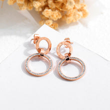 Load image into Gallery viewer, Simple and Fashion Plated Rose Gold Roman Numerals Geometric Hollow Round Titanium Steel Earrings with Cubic Zircon - Glamorousky