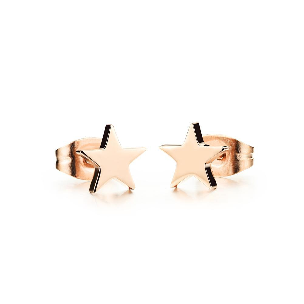 Simple and Fashion Plated Rose Gold Star Titanium Steel Stud Earrings - Glamorousky