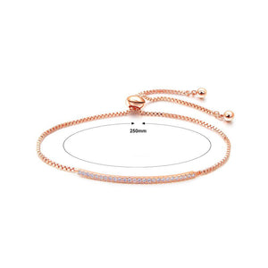 Fashion and Simple Plated Rose Gold Geometric Bar Bracelet with Cubic Zirconia - Glamorousky
