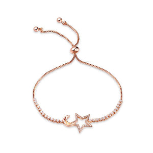 Fashion Simple Plated Rose Gold Star and Moon Bracelet with Cubic Zirconia - Glamorousky