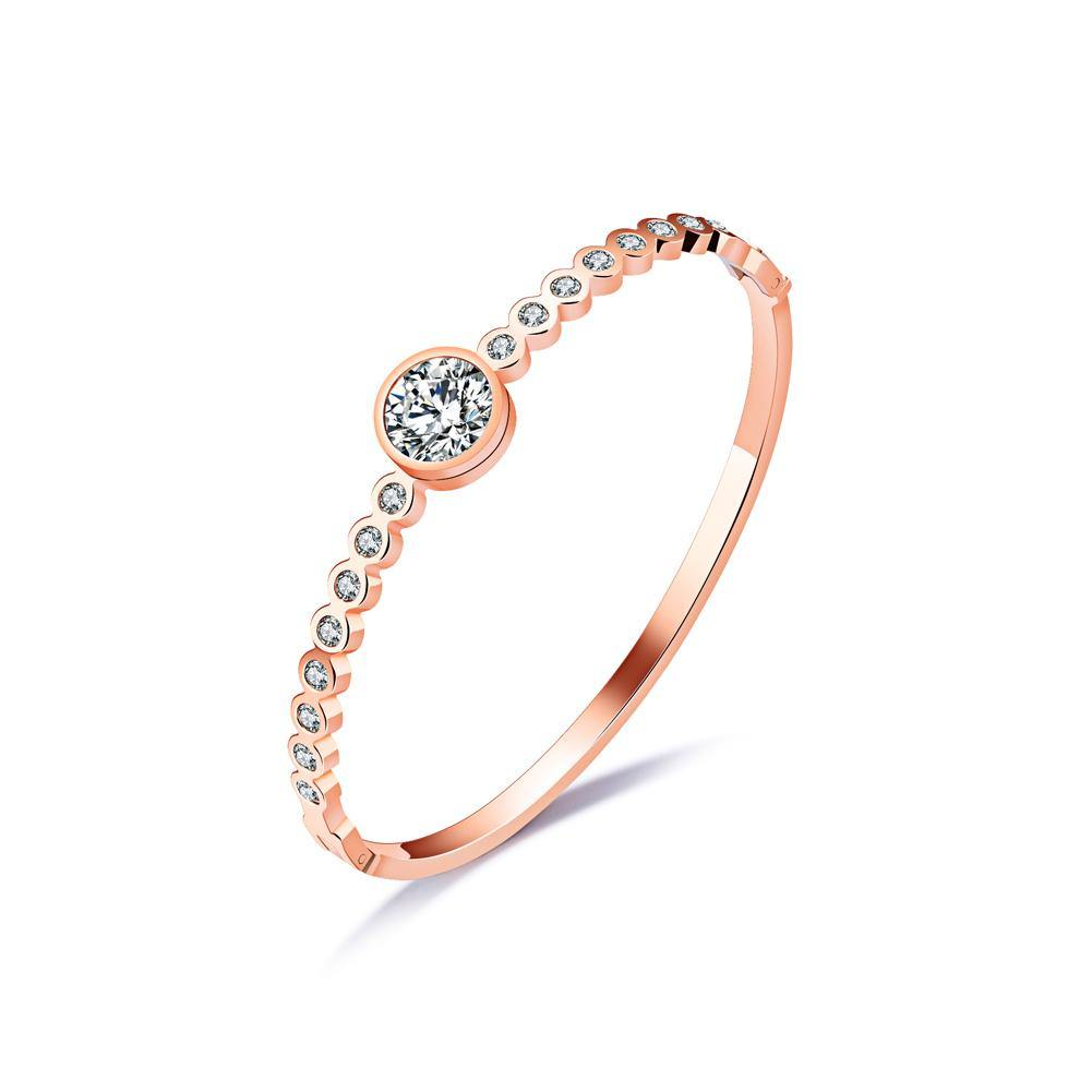 Simple and Fashion Plated Rose Gold Geometric Round Cubic Zirconia Titanium Steel Bangle - Glamorousky
