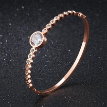 Load image into Gallery viewer, Simple and Fashion Plated Rose Gold Geometric Round Cubic Zirconia Titanium Steel Bangle - Glamorousky