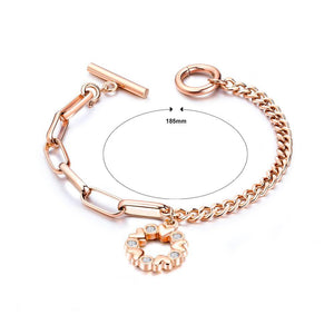 Simple and Romantic Plated Rose Gold Heart-shaped Round Titanium Steel Bracelet with Cubic Zirconia - Glamorousky