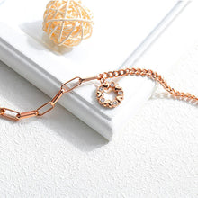 Load image into Gallery viewer, Simple and Romantic Plated Rose Gold Heart-shaped Round Titanium Steel Bracelet with Cubic Zirconia - Glamorousky