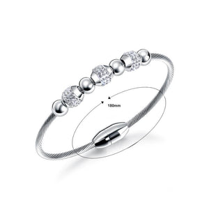 Simple Fashion Geometric Round Cubic Zirconia Titanium Bracelet - Glamorousky