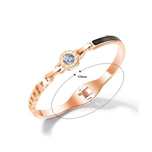 Fashion and Elegant Plated Rose Gold Roman Numeral Geometric Round Bangle with Cubic Zirconia - Glamorousky