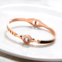 Load image into Gallery viewer, Fashion and Elegant Plated Rose Gold Roman Numeral Geometric Round Bangle with Cubic Zirconia - Glamorousky