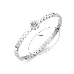 Simple and Fashion Roman Numeral Geometric Round Titanium Steel Bangle with Cubic Zirconia - Glamorousky