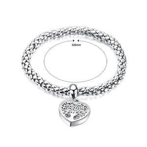 Fashion Romantic Heart-shaped Tree Of Life Titanium Steel Bracelet with Cubic Zirconia - Glamorousky