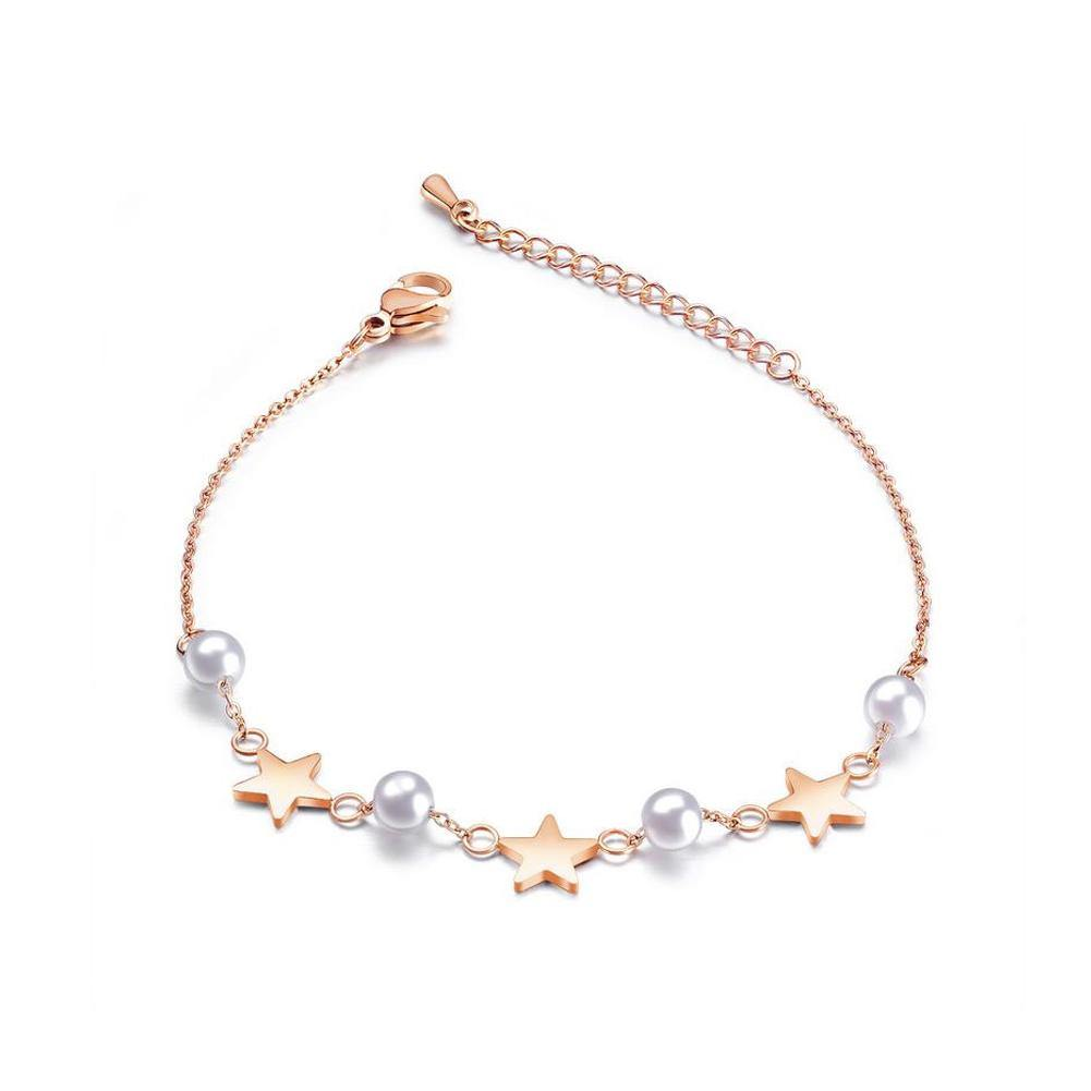 Simple and Elegant Plated Rose Gold Star Pearl Titanium Steel Bracelet - Glamorousky
