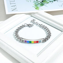 Load image into Gallery viewer, Fashion Personality Rainbow Titanium Steel Bracelet with Blue Cubic Zirconia - Glamorousky